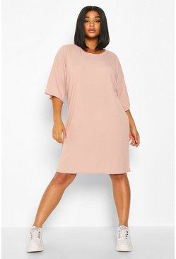 Womens Blush Plus Oversized Slouch Rib T-Shirt Dress