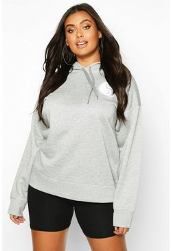 Womens Grey Plus Sun Pocket Print Oversized Hoodie