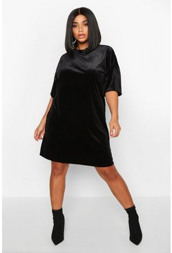 Womens Black Plus Velvet Oversized T-Shirt Dress