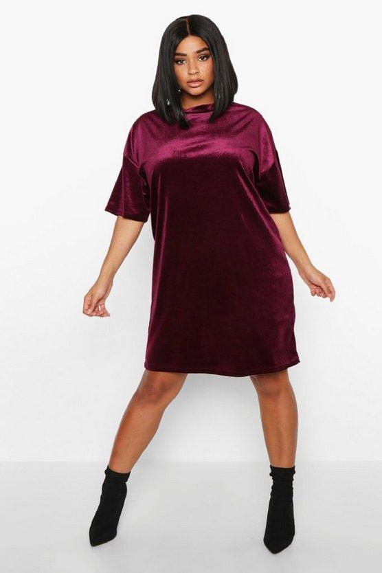 Plus Velvet Oversized T-Shirt Dress