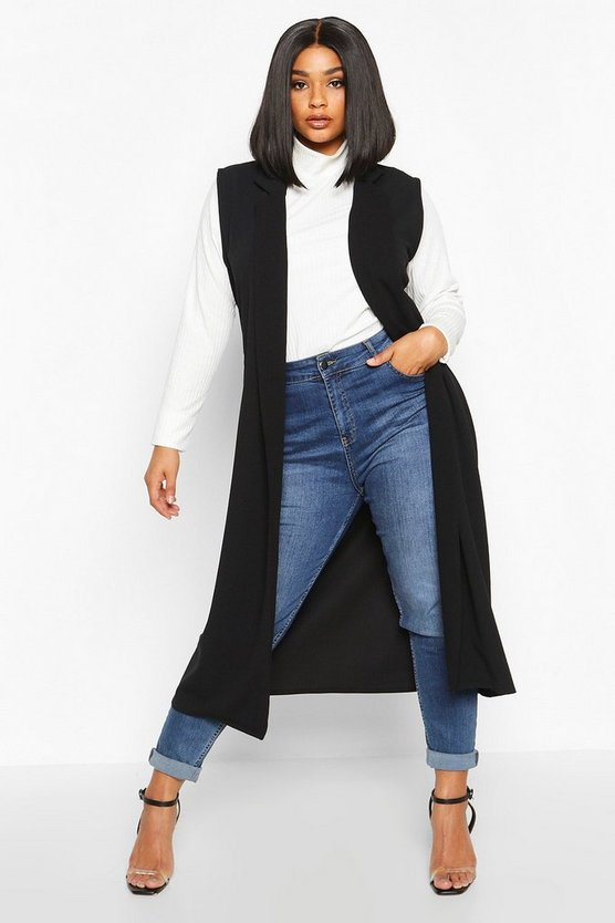 Black Plus Tailored Sleeveless Duster