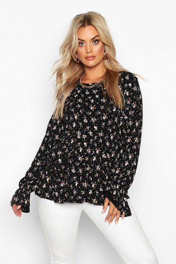 Womens Black Plus Dark Ditsy Floral Longsleeve Peplum Top