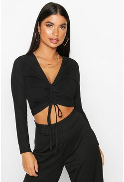 Womens Black Petite Long Sleeve Ribbed Ruched Detail Top