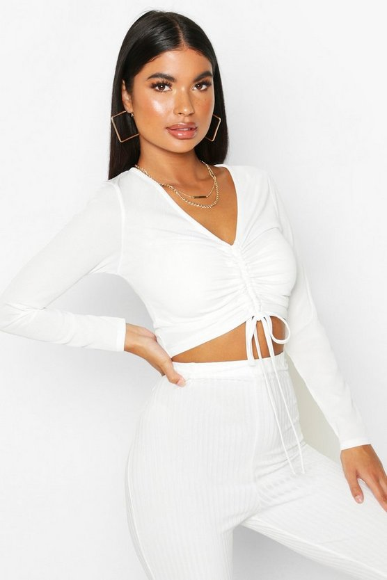 Ivory Petite Long Sleeve Ribbed Ruched Detail Top