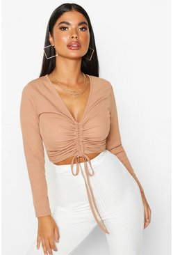 Womens Toffee Petite Long Sleeve Ribbed Ruched Detail Top