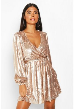 Womens Rose Petite Balloon Sleeve Wrap Sequin Mini Dress