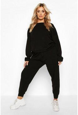 Womens Black Knitted Jumper & Jogger Set