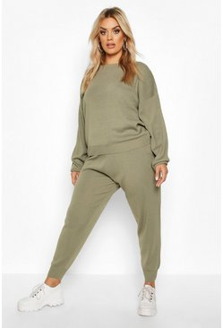 Khaki Plus Knitted Jumper & Jogger Set