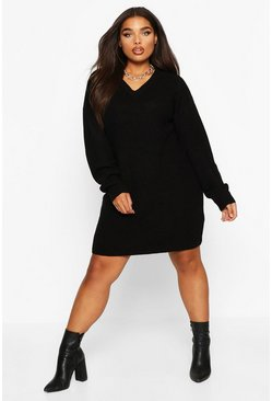 Black Plus V-Neck Knitted Jumper Dress