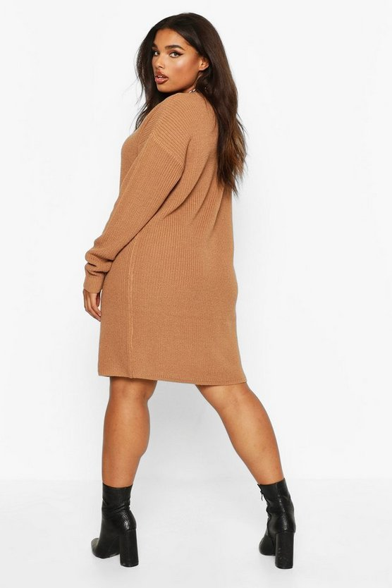 Plus V-Neck Knitted Jumper Dress