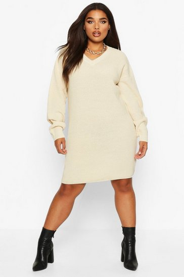 Ecru Plus V-Neck Knitted Jumper Dress
