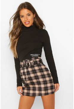 Womens Black Petite Self Belt Mini Check Skirt
