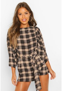 Black Petite Puff Sleeve Check Playsuit