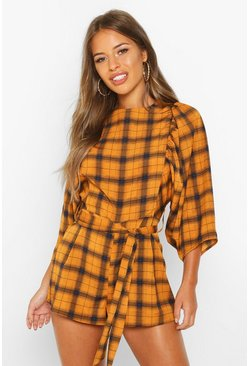 Womens Mustard Petite Puff Sleeve Check Playsuit
