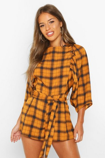 Mustard Petite Puff Sleeve Check Playsuit