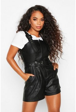 Black Petite Faux Leather Pinafore Playsuit