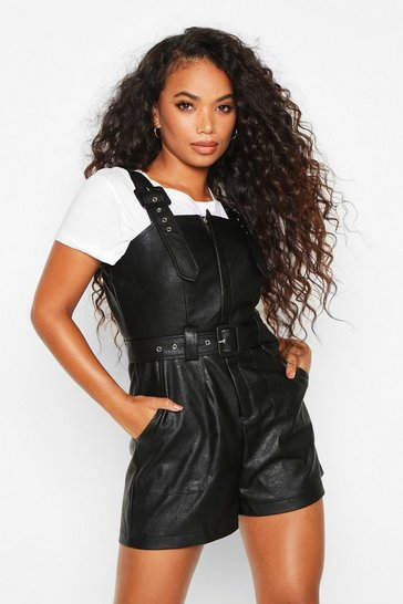 Womens Black Petite Faux Leather Pinafore Playsuit