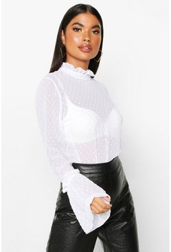 Womens White Petite Polka Dot Chiffon High Neck Ruffle Blouse