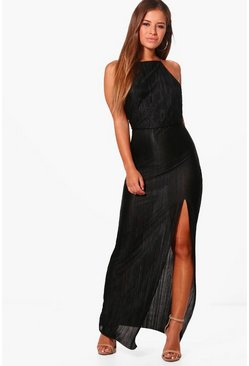 Dam Black Petite Pleated Thigh Split Maxi Dress