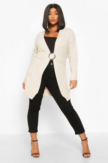 Womens Stone Plus Buckle Belted Longline Cardigan