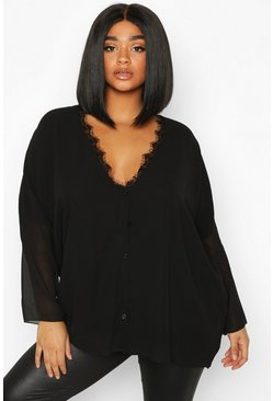 Black Plus Lace Trim Long Sleeve Blouse