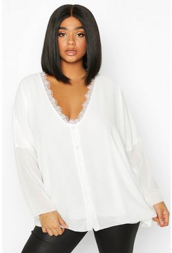 Womens Ivory Plus Lace Trim Long Sleeve Blouse