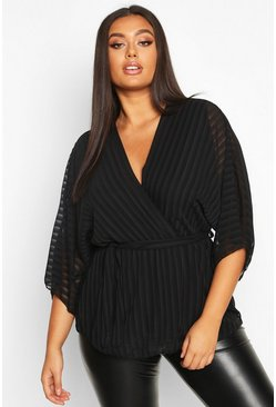 Womens Black Plus Stripe Kimono Sleeve Peplum Wrap Tie Blouse