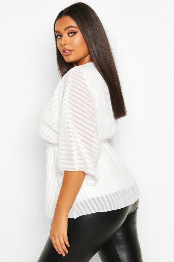Plus Stripe Kimono Sleeve Peplum Wrap Tie Blouse