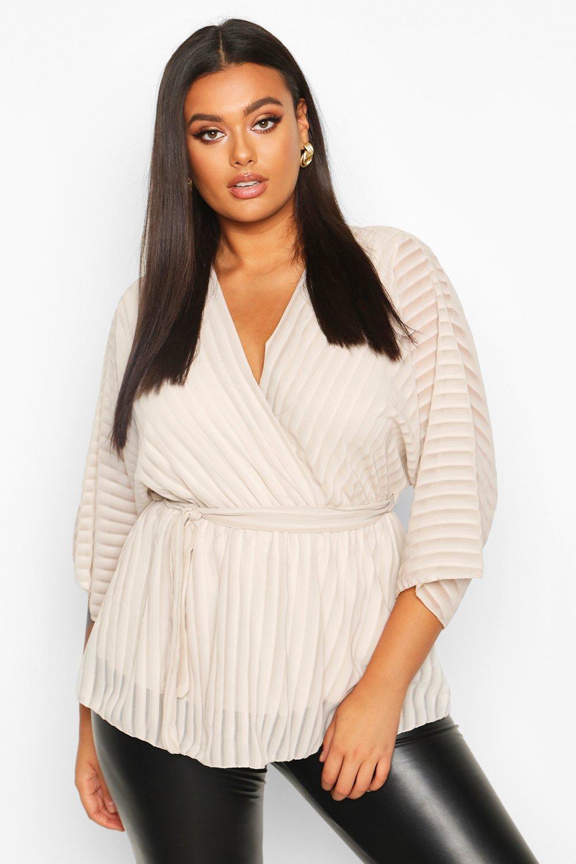 Plus Stripe Kimono Sleeve Peplum Wrap Tie Blouse 4