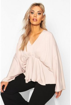 Blush Plus Kimono Sleeve Pleated Blouse