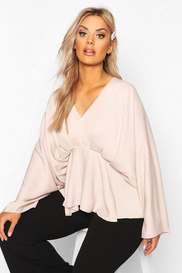 Womens Blush Plus Kimono Sleeve Pleated Blouse