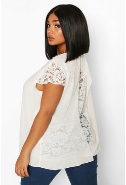Ivory Plus Lace Detail Cap Sleeve Top
