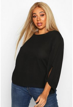 Womens Black Plus Bow Cuff Detail Longsleeve Blouse