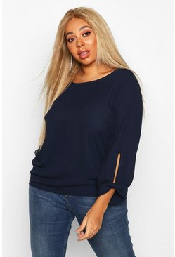 Navy Plus Bow Cuff Detail Longsleeve Blouse