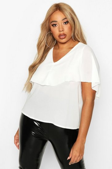 Womens Ivory Plus Angel Cape Sleeve Top