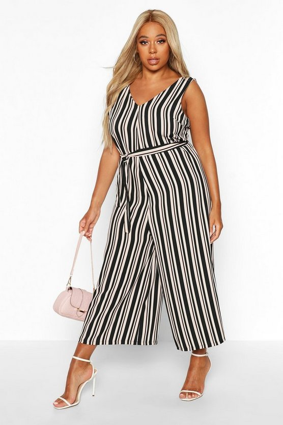 Plus Stripe Self Belt Culotte Jumpsuit