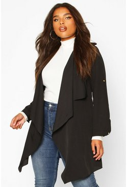 Womens Black Plus Waterfall Military Detail Belted Jacket