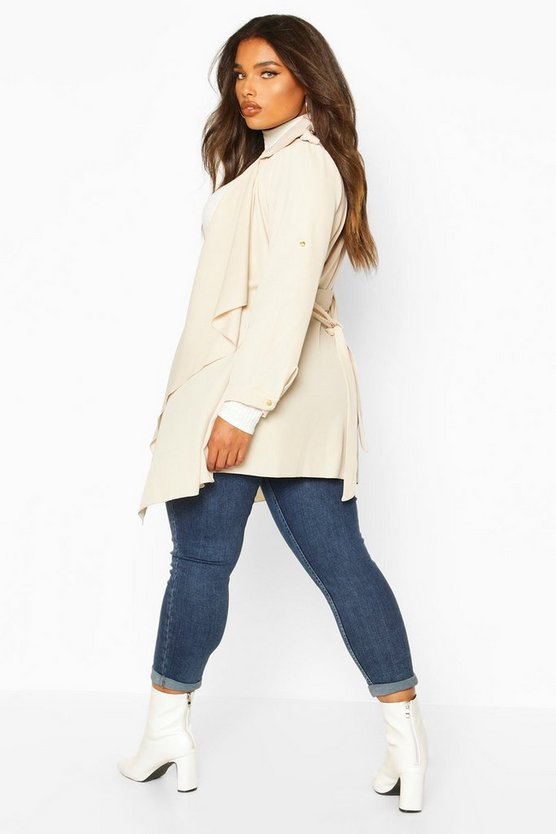 Plus Waterfall Military Detail Belted Jacket