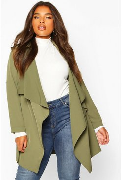 Womens Khaki Plus Waterfall Military Detail Belted Jacket