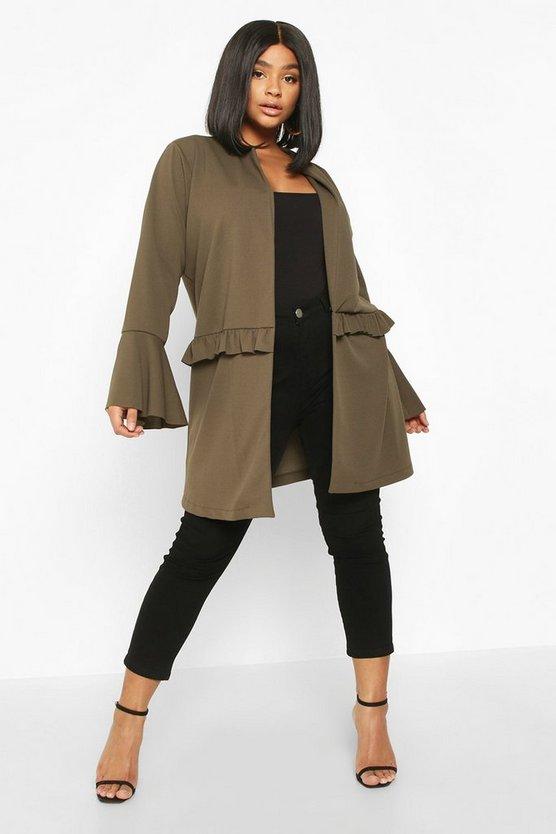 Plus Ruffle Detail Collarless Jacket