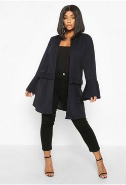 Navy Plus Ruffle Detail Collarless Jacket