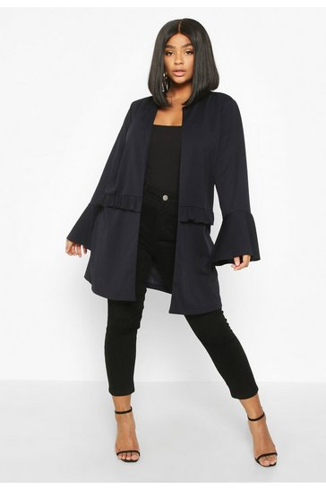Womens Navy Plus Ruffle Detail Collarless Jacket
