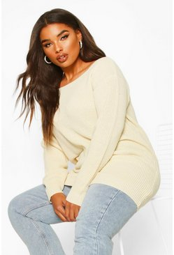 Womens Ecru Plus Slash Neck Fisherman Jumper