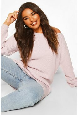 Womens Pale lilac Plus Slash Neck Fisherman Jumper