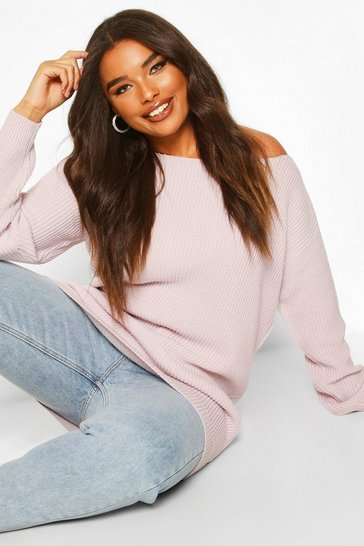 Pale lilac Plus Slash Neck Fisherman Jumper