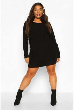 Womens Black Plus Slash Neck Knitted Jumper Dress