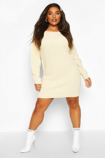 Ecru Plus Slash Neck Knitted Jumper Dress