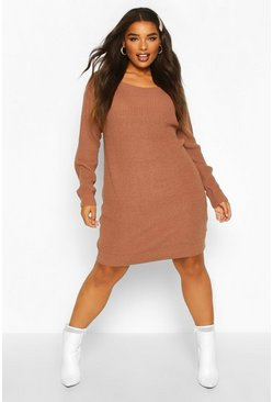 Womens Mocha Plus Slash Neck Knitted Jumper Dress