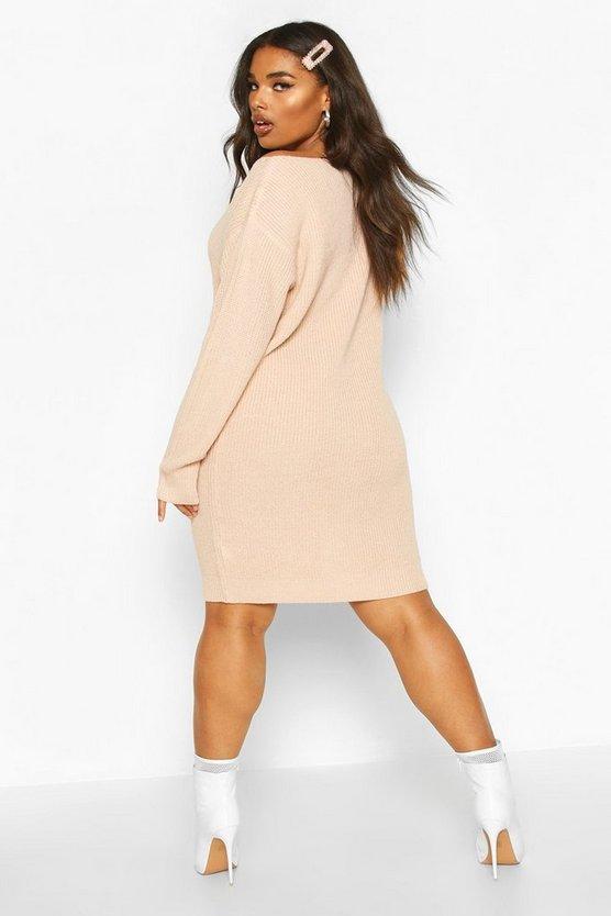 Plus Slash Neck Knitted Jumper Dress