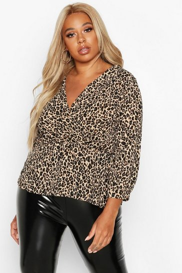 Womens Brown Plus Leopard Print Wrap Peplum Top